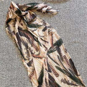 H&M Scarf Long Light Feather Dusty Pink Blue Green
